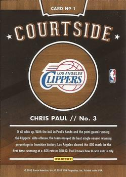 2012-13 Hoops - Courtside #1 Chris Paul Back
