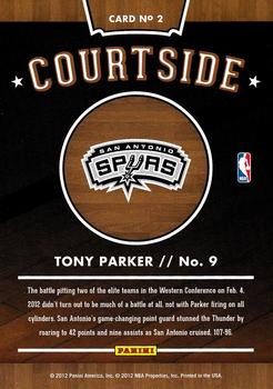 2012-13 Hoops - Courtside #2 Tony Parker Back