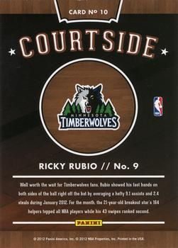 2012-13 Hoops - Courtside #10 Ricky Rubio Back