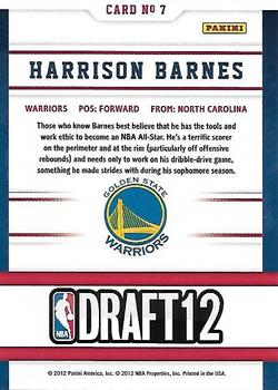2012-13 Hoops - Draft Night #7 Harrison Barnes Back