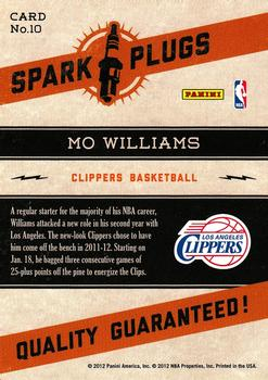 2012-13 Hoops - Spark Plugs #10 Mo Williams Back
