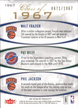 2007-08 Fleer Hot Prospects - Class of... #1967 Phil Jackson / Pat Riley / Walt Frazier Back