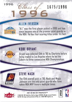 2007-08 Fleer Hot Prospects - Class of... #1996 Kobe Bryant / Steve Nash / Allen Iverson Back