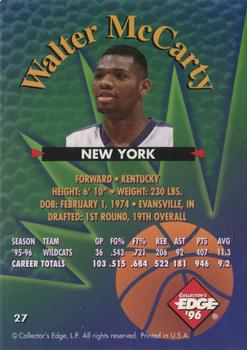 1996 Collector's Edge #27 Walter McCarty Back