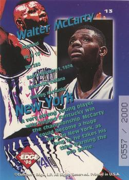 1996 Collector's Edge Rookie Rage - Key Kraze Holofoil #13 Walter McCarty Back