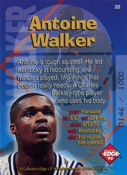 1996 Collector's Edge - Radical Recruits Gold #20 Antoine Walker Back
