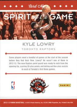 2012-13 Panini - Spirit of the Game #5 Kyle Lowry Back