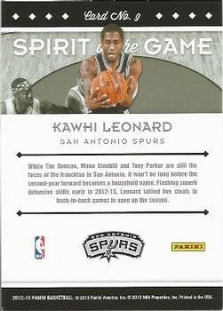 2012-13 Panini - Spirit of the Game #9 Kawhi Leonard Back