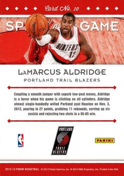 2012-13 Panini - Spirit of the Game #10 LaMarcus Aldridge Back