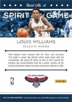 2012-13 Panini - Spirit of the Game #16 Louis Williams Back