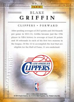 2012-13 Panini Brilliance - Magic Numbers #2 Blake Griffin Back