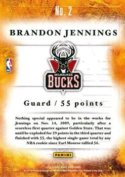 2012-13 Panini Brilliance - Scorers Inc. #2 Brandon Jennings Back