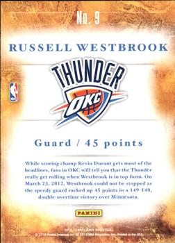 2012-13 Panini Brilliance - Scorers Inc. #9 Russell Westbrook Back