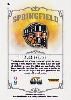 2012-13 Panini Brilliance - Springfield #5 Alex English Back