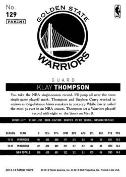 2013-14 Hoops - Gold #129 Klay Thompson Back