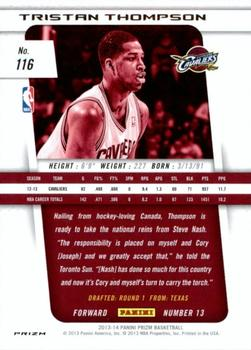 2013-14 Panini Prizm - Prizms Green #116 Tristan Thompson Back