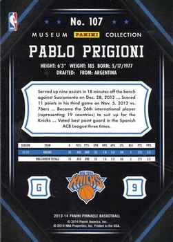 2013-14 Pinnacle - Museum Collection #107 Pablo Prigioni Back