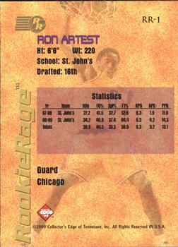 1999 Collector's Edge Rookie Rage #RR-1 Ron Artest Back