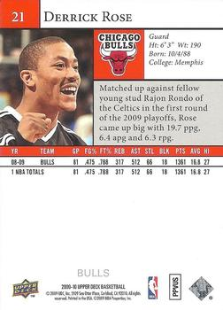 2009-10 Upper Deck #21 Derrick Rose Back