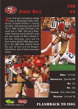1994 Classic NFL Draft #100 Jerry Rice  Back