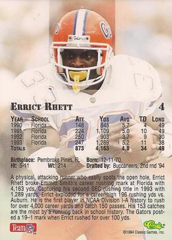 1994 Classic NFL Draft #4 Errict Rhett  Back