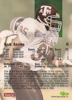 1994 Classic NFL Draft #6 Sam Adams  Back
