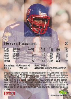 1994 Classic NFL Draft #8 Dwayne Chandler  Back
