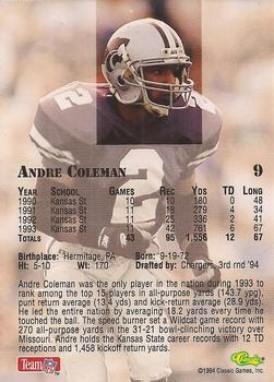 1994 Classic NFL Draft #9 Andre Coleman  Back