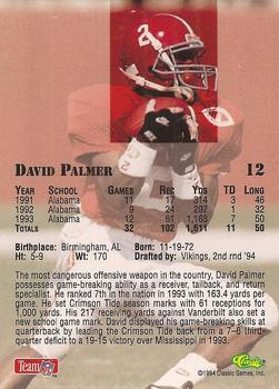 1994 Classic NFL Draft #12 David Palmer  Back