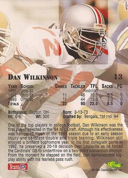 1994 Classic NFL Draft #13 Dan Wilkinson  Back
