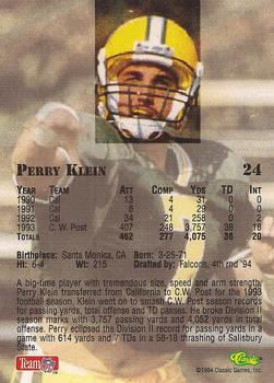 1994 Classic NFL Draft #24 Perry Klein  Back
