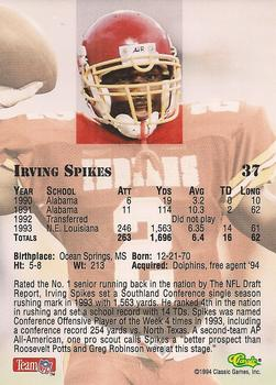 1994 Classic NFL Draft #37 Irving Spikes  Back