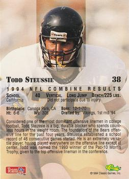 1994 Classic NFL Draft #38 Todd Steussie  Back
