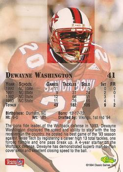 1994 Classic NFL Draft #41 Dewayne Washington  Back