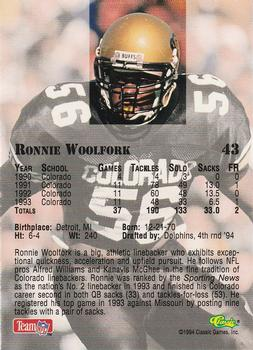1994 Classic NFL Draft #43 Ronnie Woolfork  Back