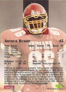 1994 Classic NFL Draft #45 Arthur Bussie Back