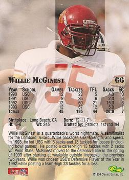 1994 Classic NFL Draft #66 Willie McGinest  Back