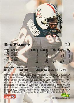1994 Classic NFL Draft #73 Rob Waldrop  Back