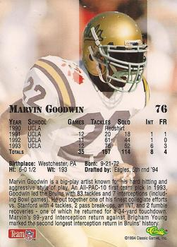 1994 Classic NFL Draft #76 Marvin Goodwin  Back