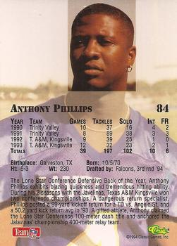 1994 Classic NFL Draft #84 Anthony Phillips  Back