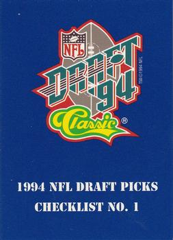 1994 Classic NFL Draft #94 Checklist No.1 Front