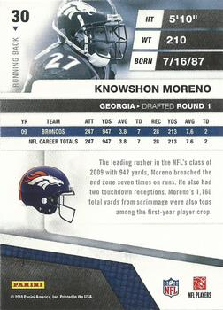 2010 Panini Absolute Memorabilia #30 Knowshon Moreno  Back