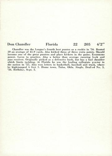 1957 Jay Publishing New York Giants #NNO Don Chandler Back
