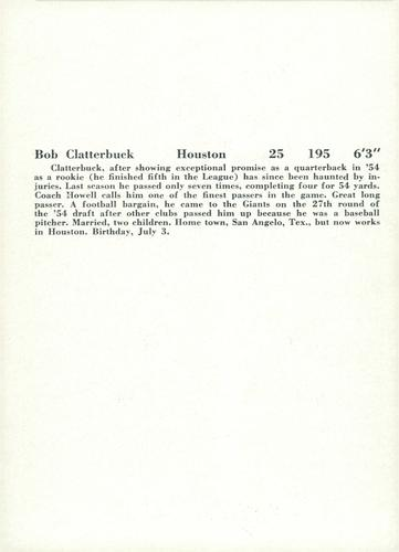 1957 Jay Publishing New York Giants #NNO Bob Clatterbuck Back