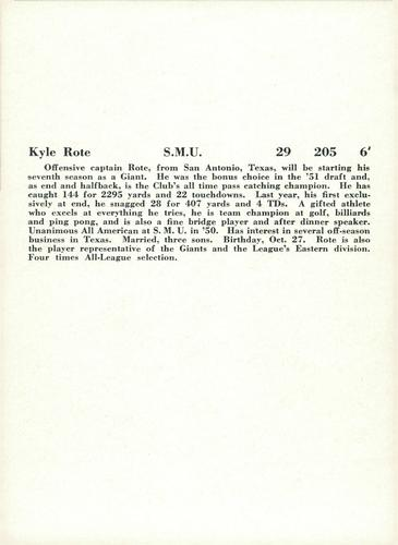 1957 Jay Publishing New York Giants #NNO Kyle Rote Back