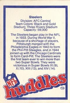 1983 NFL Properties Huddles #NNO Pittsburgh Steelers Back