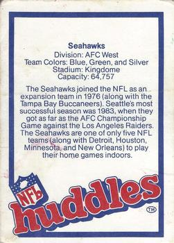 1983 NFL Properties Huddles #NNO Seattle Seahawks Back