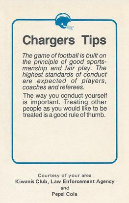 1981 San Diego Chargers Police #63 Doug Wilkerson Back