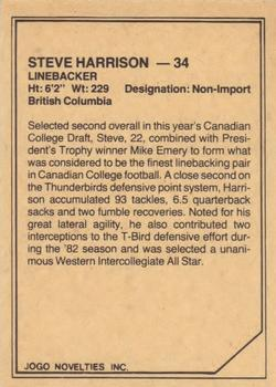1983 JOGO CFL Limited #NNO Steve Harrison Back