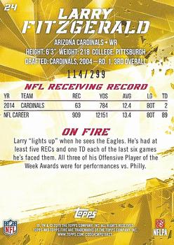 2015 Topps Fire - Gold #24 Larry Fitzgerald Back
